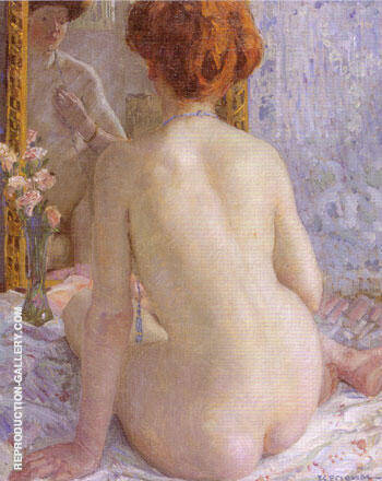 Reproduction of Reflections (Marcelle) 1909 by Frederick Carl Frieseke | Oil Painting Replica On CanvasReproduction Gallery