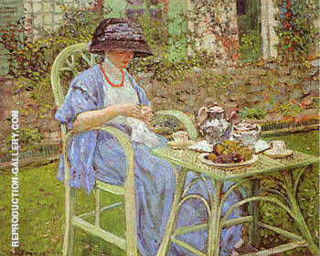 Breakfast in the Garden 1911 By Frederick Carl Frieseke - Oil Paintings & Art Reproductions - Reproduction Gallery