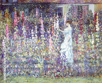 Hollyhocks Painting By Frederick Carl Frieseke - Reproduction Gallery