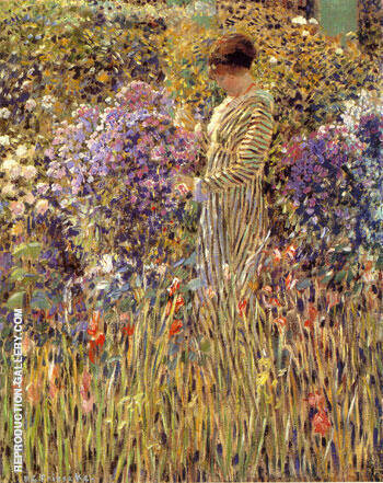 Lady in a Garden 1912 Painting By Frederick Carl Frieseke