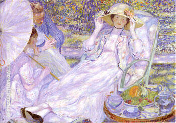 The House of  Tea 1914 By Frederick Carl Frieseke - Oil Paintings & Art Reproductions - Reproduction Gallery