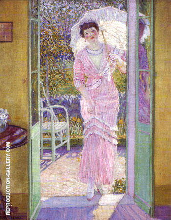 In the Doorway (Good Morning) 1913 By Frederick Carl Frieseke - Oil Paintings & Art Reproductions - Reproduction Gallery