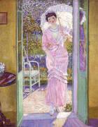 In the Doorway (Good Morning) 1913 By Frederick Carl Frieseke