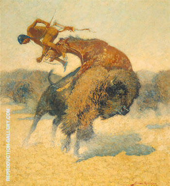 Episode of a Buffalo Hunt Painting By Frederic Remington