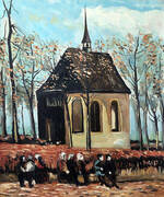 Congregation Leaving The Reformed Church in Nuenen 1884 By Vincent van Gogh