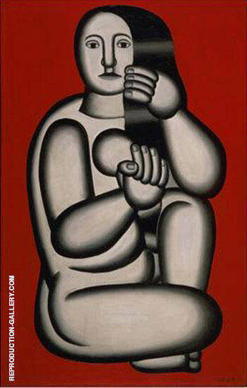 Nude on a Red Background Seated Woman 1927 By Fernand Leger