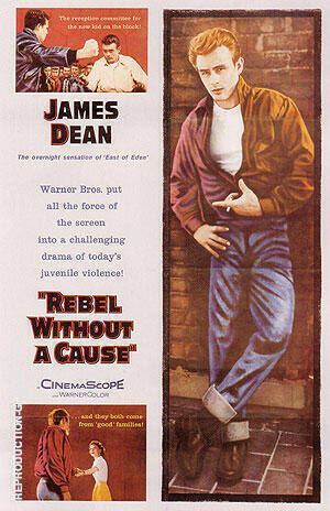 REBEL WITHOUT A CAUSE NICHOLAS RAY 1955 By Clasic-Movie-Posters - Oil Paintings & Art Reproductions - Reproduction Gallery
