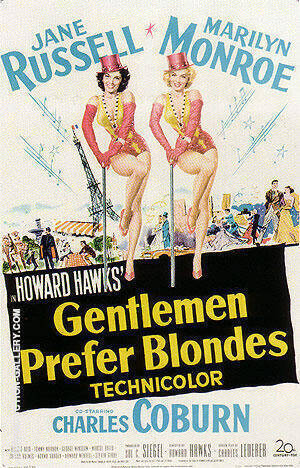 GENTLEMEN PREFER BLONDES HOWARD HAWKS Painting By Classic-Movie-Posters