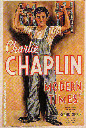 MODERN TIMES CHARLIE CHAPLIN 1936 By Classic-Movie-Posters Replica Paintings on Canvas - Reproduction Gallery