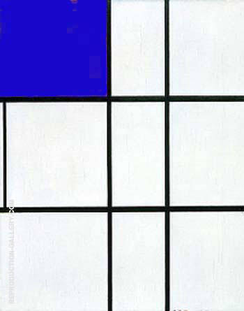 Composition B with Cobalt By Piet Mondrian Replica Paintings on Canvas - Reproduction Gallery