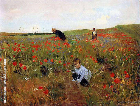 Poppies in a Field 1888 By Mary Cassatt - Oil Paintings & Art Reproductions - Reproduction Gallery