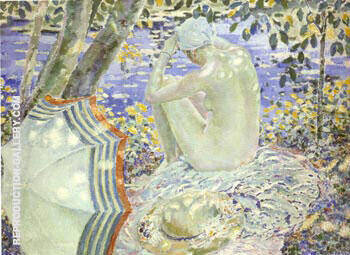 On the Bank c1914 By Frederick Carl Frieseke