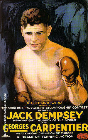 JACK DEMPSEY AND GEORGES CARPENTER, 1921 By Sporting-Movie-Posters - Oil Paintings & Art Reproductions - Reproduction Gallery