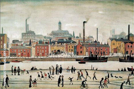 Northern River Scene 1930 By L-S-Lowry - Oil Paintings & Art Reproductions - Reproduction Gallery