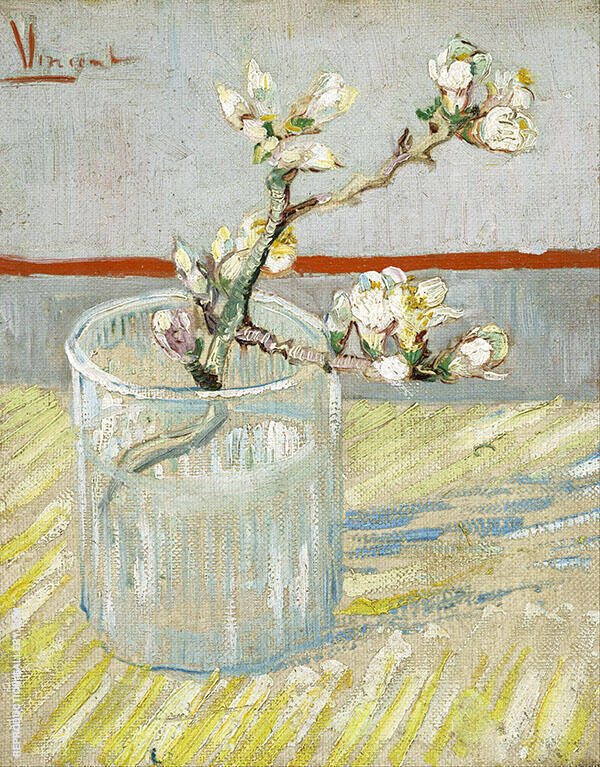 Sprig of Flowering Almond in a Glass Painting By Vincent van Gogh