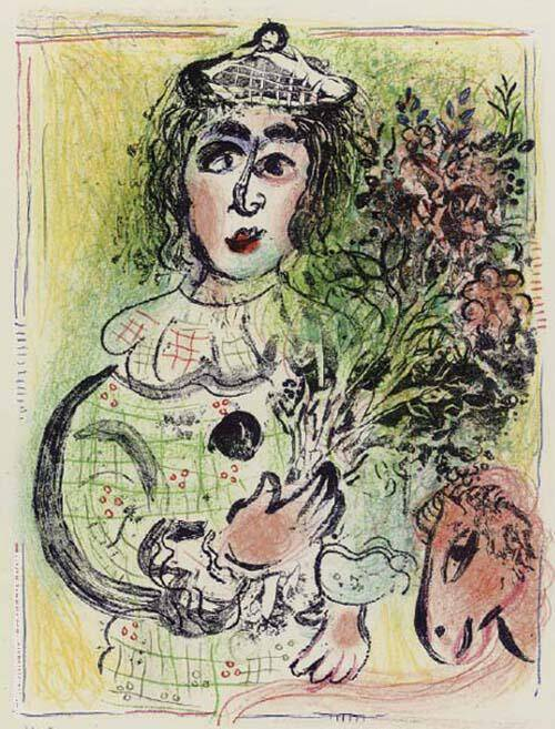 Clown with Flowers By Marc Chagall Replica Paintings on Canvas - Reproduction Gallery