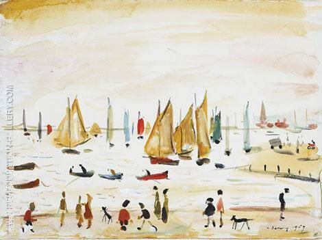 Yachts 1959 By L-S-Lowry Replica Paintings on Canvas - Reproduction Gallery