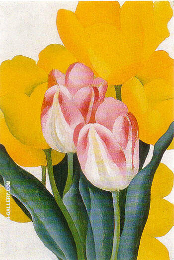 Reproduction Of Pink And Yellow Tulips 1925 By Georgia O Keeffe Oil Painting Replica On Canvasreproduction Gallery