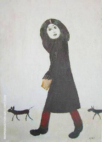 Lady with a Dog and Half 1963 By L-S-Lowry - Oil Paintings & Art Reproductions - Reproduction Gallery