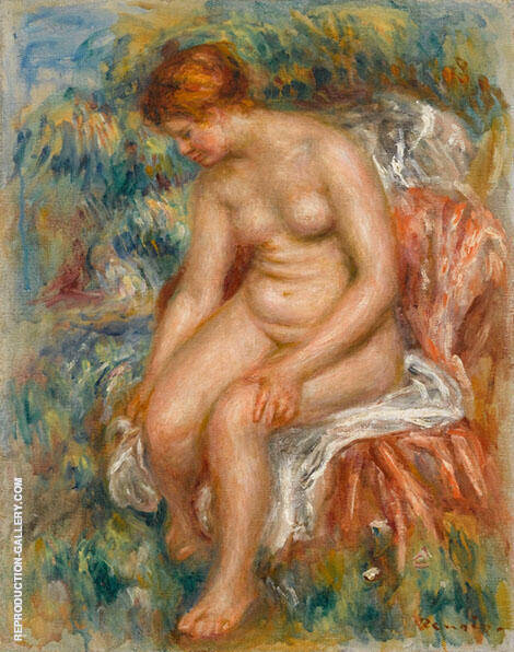 Bather Drying Her Legs 1895 Painting By Pierre Auguste Renoir