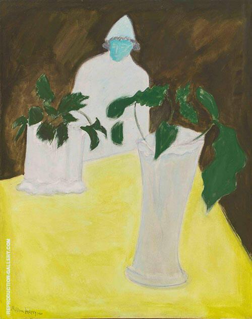 White Vase White Figure By Milton Avery