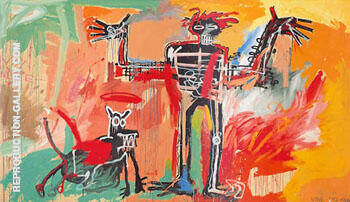 Boy and Dog in a Johnnypump Painting By Jean-Michel-Basquiat