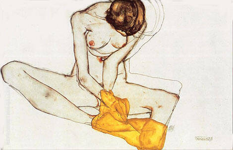 Girl with Yellow Scarf By Egon Schiele Replica Paintings on Canvas - Reproduction Gallery