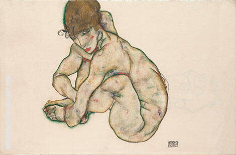 Kauernder Weiblicher Akt Crouching Nude Girl1914 By Egon Schiele - Oil Paintings & Art Reproductions - Reproduction Gallery