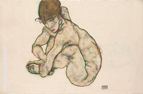 Kauernder Weiblicher Akt Crouching Nude Girl1914 By Egon Schiele