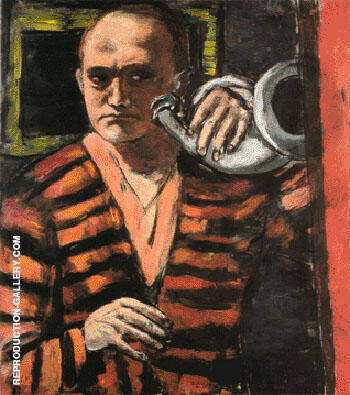 Self Portrait with Horn 1938 By Max Beckmann Replica Paintings on Canvas - Reproduction Gallery