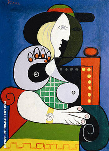 Seated Woman with Wrist Watch, 1932 By Pablo Picasso - Oil Paintings & Art Reproductions - Reproduction Gallery