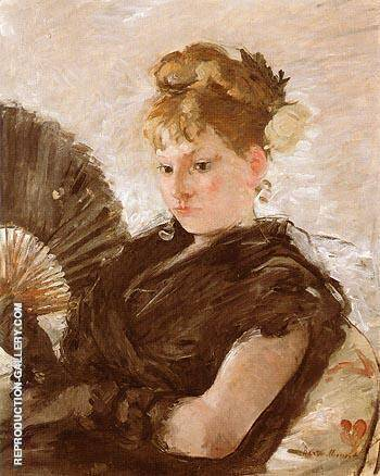 Woman with Fan Head of a Girl 1876 Painting By Berthe Morisot