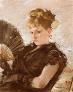 Woman with Fan Head of a Girl 1876 By Berthe Morisot