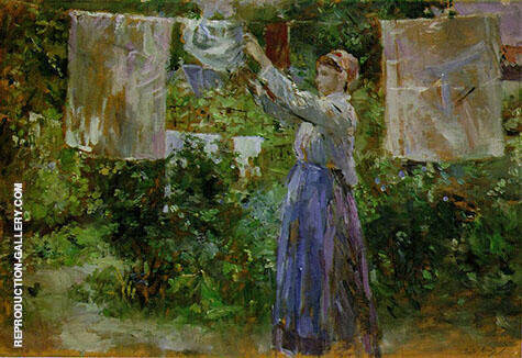 Reproduction of Peasant Hanging the Washing 1881 by Berthe Morisot | Oil Painting Replica On CanvasReproduction Gallery