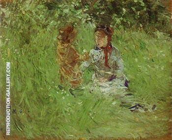 Woman and Child in the Garden at Bougival 1882 By Berthe Morisot - Oil Paintings & Art Reproductions - Reproduction Gallery