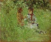 Woman and Child in the Garden at Bougival 1882 By Berthe Morisot