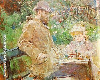 Eugene Manet and his Daughter at Bougival 1881 By Berthe Morisot Replica Paintings on Canvas - Reproduction Gallery