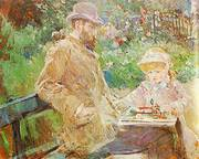 Eugene Manet and his Daughter at Bougival 1881 By Berthe Morisot