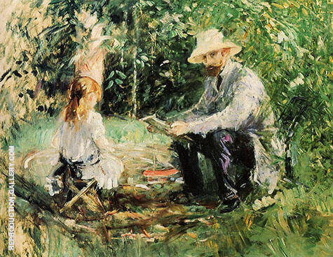 Eugene Manet and his Daughter in the Garden 1883 By Berthe Morisot Replica Paintings on Canvas - Reproduction Gallery
