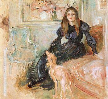 Julie Manet and Her Greyhound Laertes 1893 By Berthe Morisot