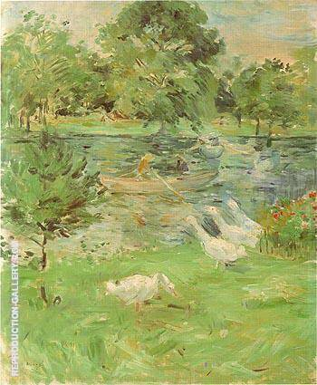 Girl in a Boat with Geese 1889 Painting By Berthe Morisot
