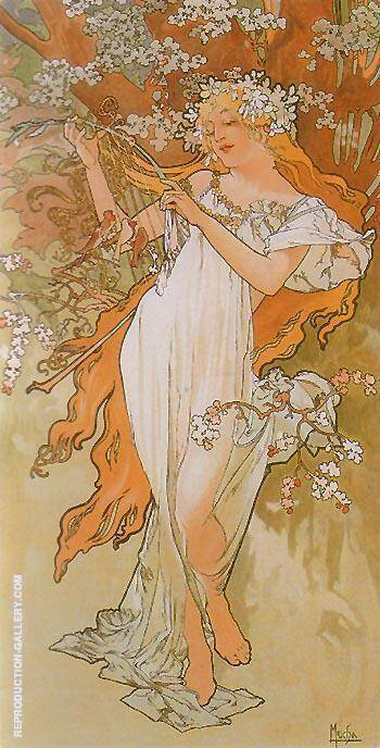 Reproduction of Spring from the Seasons series 1896 by Alphonse Mucha | Oil Painting Replica On CanvasReproduction Gallery