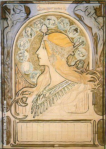 Study for Zodiac 1896 By Alphonse Mucha Replica Paintings on Canvas - Reproduction Gallery