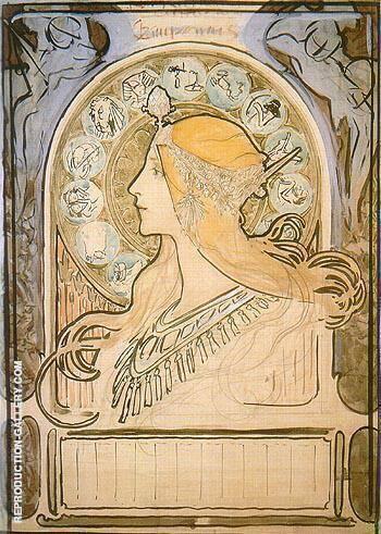 Study for Zodiac 1896 By Alphonse Mucha