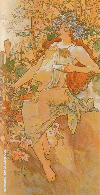 Autumn 1896 By Alphonse Mucha