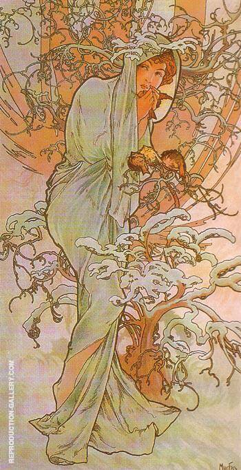 Winter 1896 By Alphonse Mucha