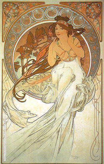Reproduction of Music 1898 by Alphonse Mucha | Oil Painting Replica On CanvasReproduction Gallery