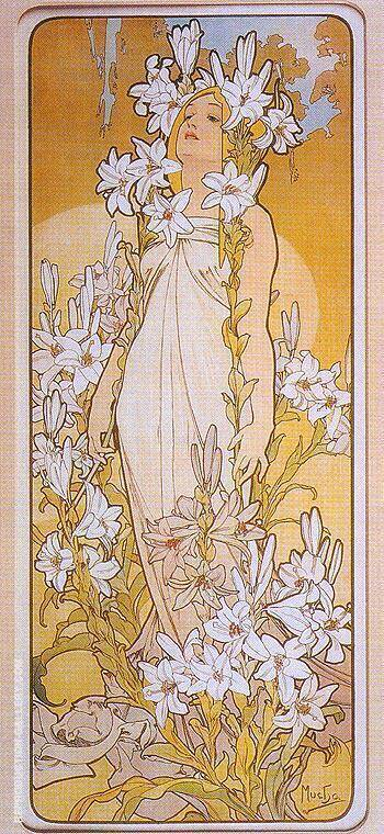 Lily 1898 By Alphonse Mucha Replica Paintings on Canvas - Reproduction Gallery