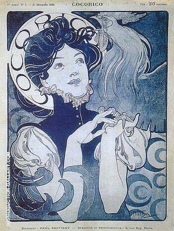 Cocorico 1898 By Alphonse Mucha Replica Paintings on Canvas - Reproduction Gallery