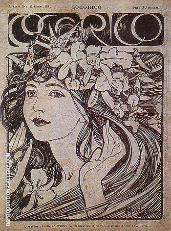 Cocorico 1899 By Alphonse Mucha Replica Paintings on Canvas - Reproduction Gallery